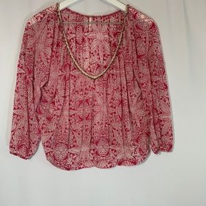 Free People Printed Beaded Neck Blouse